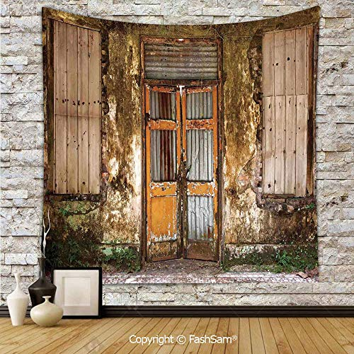 FashSam Tapestry Wall Blanket Wall Decor Damaged Shabby House with Boarded Up Rusty Doors and Mold Windows Home Decor Home Decorations for Bedroom(W59xL90)]()