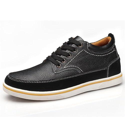 ailishabroy Zapatillas de Hombres de Cuero de Ante de Cuero Genuino Para Hombres Aumento de La Altura de Zapatos Para Hombre (39, Negro)