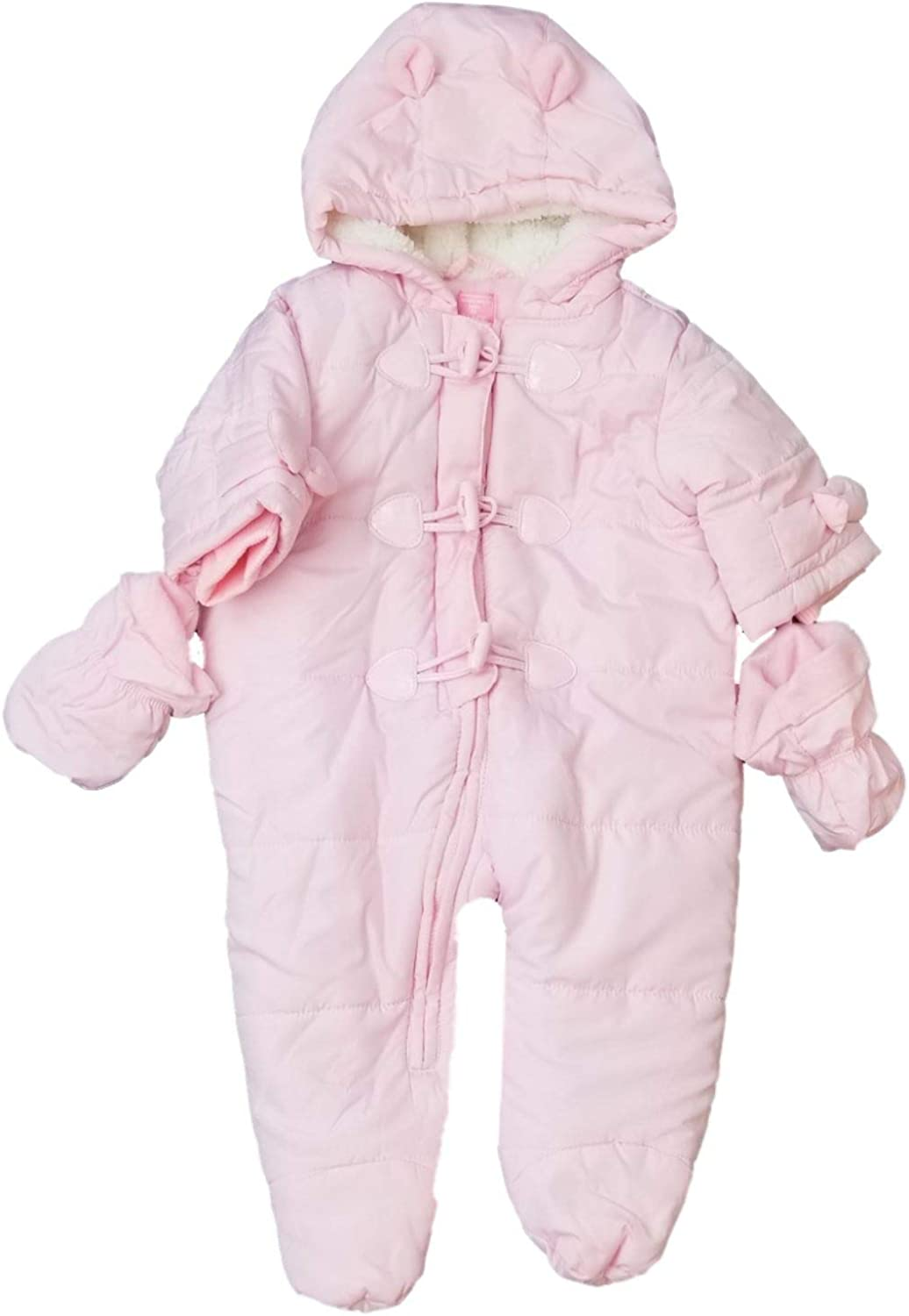 Infant Baby Girls Pink Plush Quilted Snowsuit Baby Pram Snow Suit 3-6M