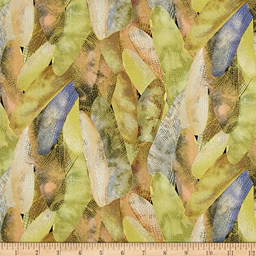 Benartex Kanvas Dance of The Dragonfly Metallic Gilded Wings Dusty Citron Fabric by The -
