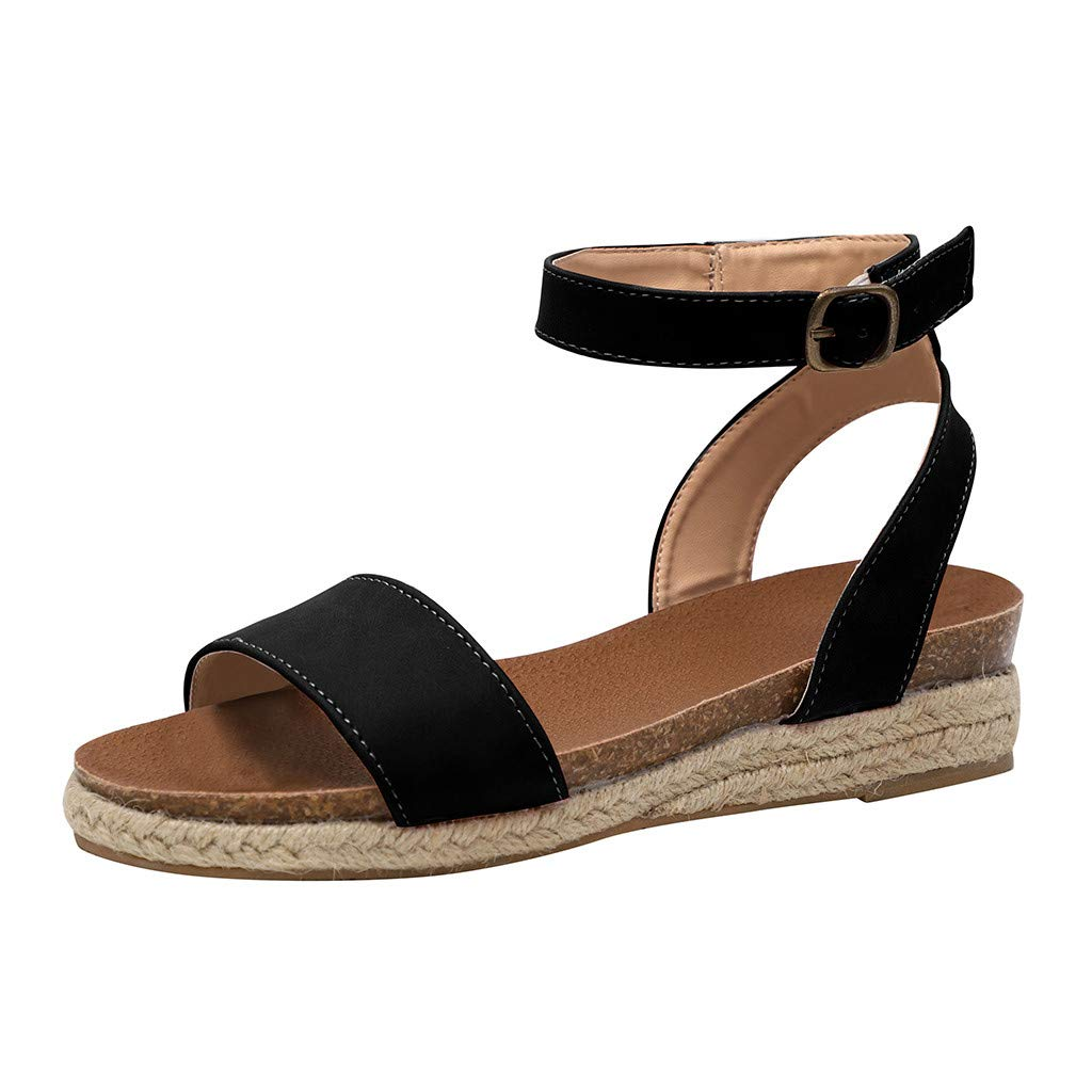 SSYUNO Womens Platform Sandals Summer Comfy Espadrille Slide-on Open Toe Ankle Strap Beach Travel Roman Flat Shoes Black by SSYUNO