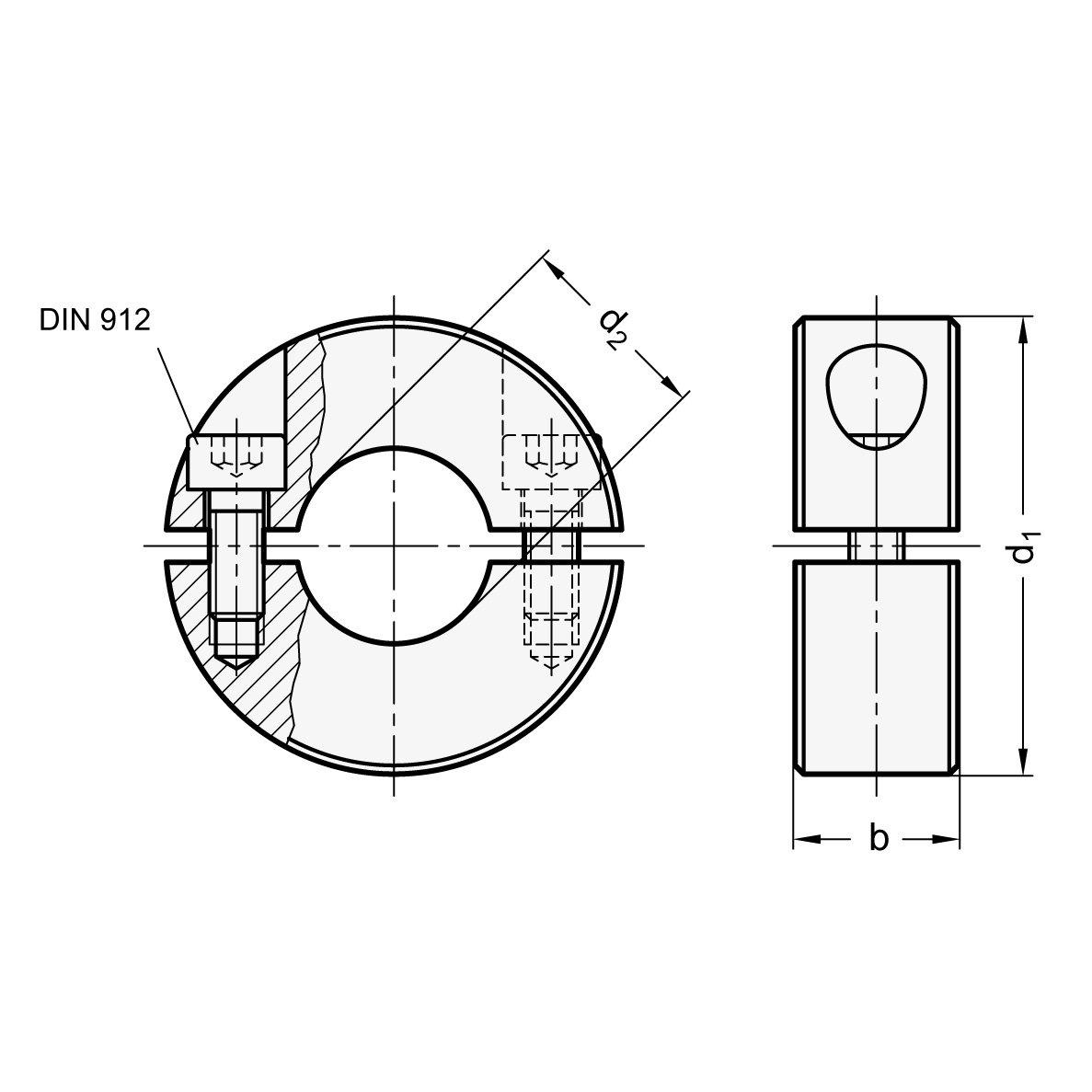 Bohrung d2 B30 55mm schwarz dampfoxidiert Durchmesser d1 Ganter Normelemente GN 707.2-55-B30-ST 2-55-B30-ST-Geteilte Stellringe