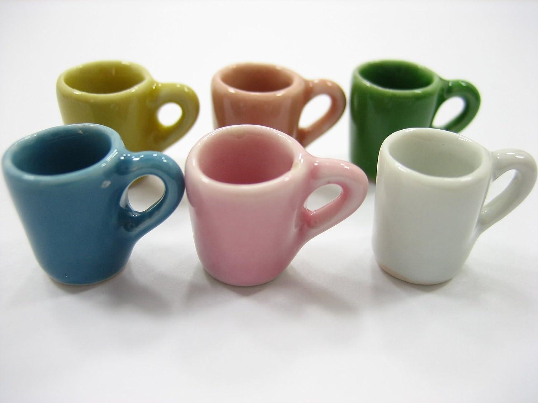 6 Mix Colorful Ceramic Mugs Coffee Dollhouse Miniatures