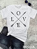 Love and Arrows T-Shirt / Unisex Shirt Distressed design with Arrow and Feather BoHo Style - Ink Printed
