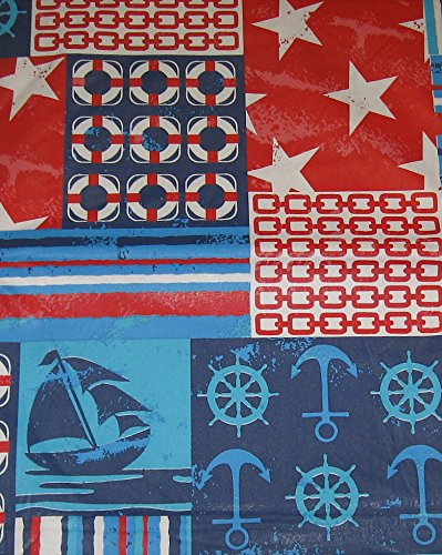 Nautical Patriotic Vinyl Tablecloth