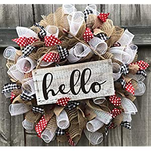 Rustic Hello Wreath | Rustic Decor | Welcome Door Hanger | Farmhouse Decor | FREE Shipping | Burlap Bowtique 117