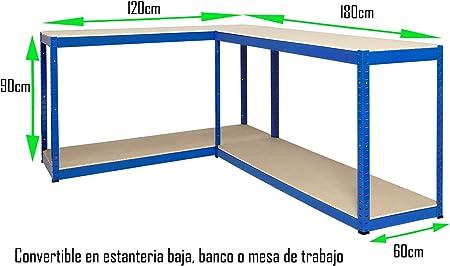 Estantería Metálica Futtal de 180x120x60 con 4 Pisos Muy Fuerte Azul