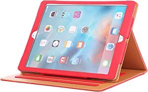 I4UCase Apple iPad 9.7 Inch 2017/2018 (5th/6th Generation) Case - Soft Leather Stand Folio Case Cover for iPad 9.7 Inch, with Multiple Viewing Angles, Auto Sleep/Wake, Document Pocket (Red)