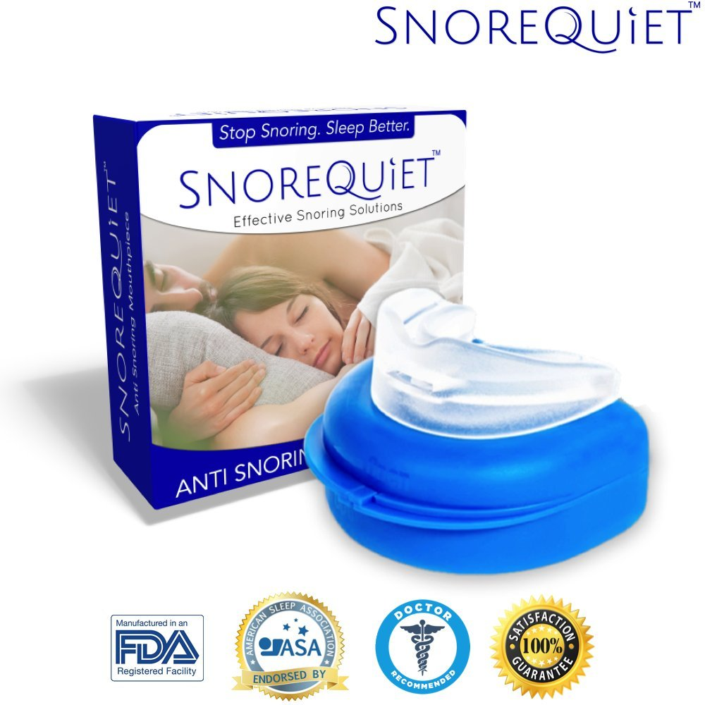 Anti Snoring Mouthpiece Custom Guard Sleep Aid Apnea Stopper Solution by SnoreQuiet - Pure Pro Nighttime Mute Sleep Relief Mouthguard & Bruxism Anti Snore Device Night Guard (2018)