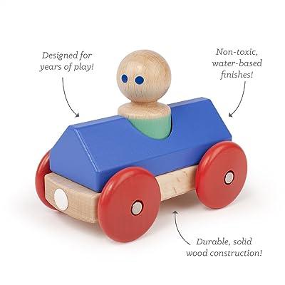 3Piece Tegu Magnetic Racer Building Block Set, Blue Big Top: Toys & Games
