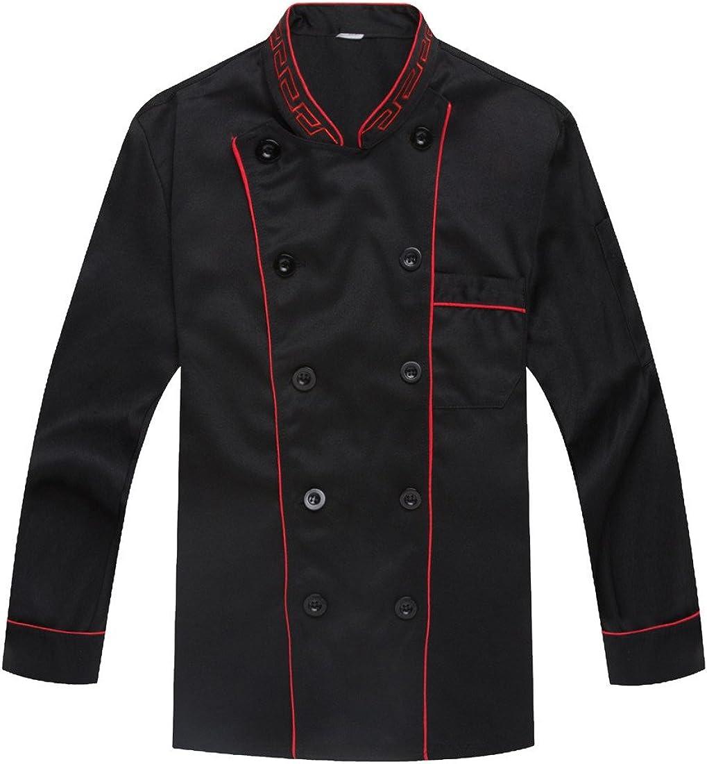 WAIWAIZUI Long Sleeves Chefs Jacket Catering Uniforms Black