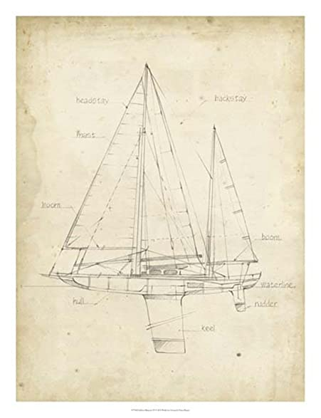 Amazon sailboat blueprint iv by ethan harper art print 20 x 26 sailboat blueprint iv by ethan harper art print 20 x 26 inches malvernweather Image collections