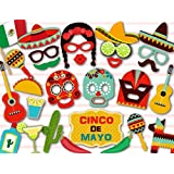Sakolla Mexican Photo Booth Props Fiesta Cinco De Mayo Party Supplies Dead Masks Sugar Skull Fiesta Carnival Props for Wedding Birthday Party Favors 29PCS