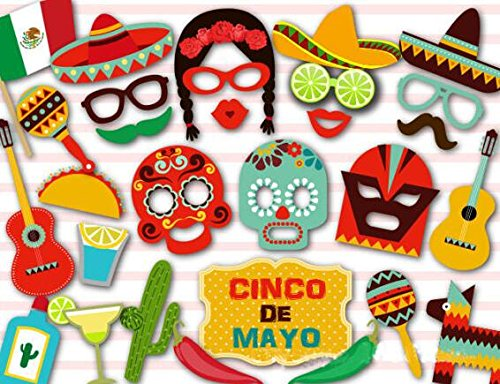 (Set of 29)Mexican DIY Photo Booth Props Kit for your Fiesta,Funny Party Camera Props Fully - Your Booth Make Own Photo