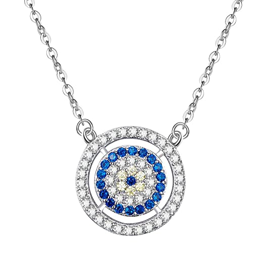 Kaletine Round Blue Evil Eye Pendant Necklace Sterling Silver 925 Cubic Zirconia Adjust. Cable Chain 16