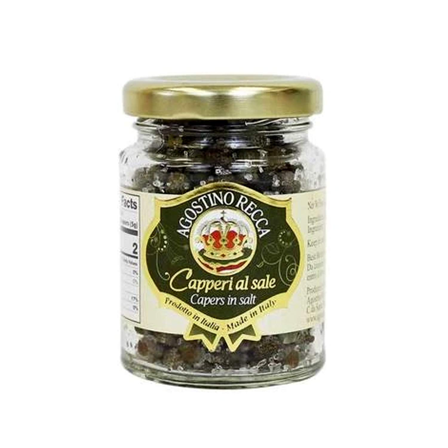 Agostino Recca Capers in Sea Salt - Pickled Capers Best for Sauces, Meats, & Garnishes (2.2 oz)