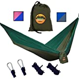 Greenbelt Camping Hammock   Lifetime No Tear Promise   All in One Super-Lightweight Parachute Nylon w/ Carabiners   Outdoor & Indoor Hammocks   Best for Backpacking, Beach, Travel, Hiking, Campus