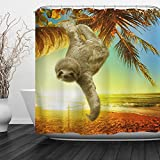QIYI Sloth Shower Curtain Mildew Resistant,Anti-Bacterial,No any chemical odor,silky 100% Polyester Fabric,easy to rinse off and hang for Bathroom 72'' W x 72'' L-Coconut Trees and Sloths