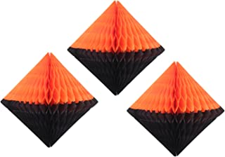 product image for Large 12 Inch Hanging Honeycomb Diamond Decoration, Set of 3 (Black/Orange)