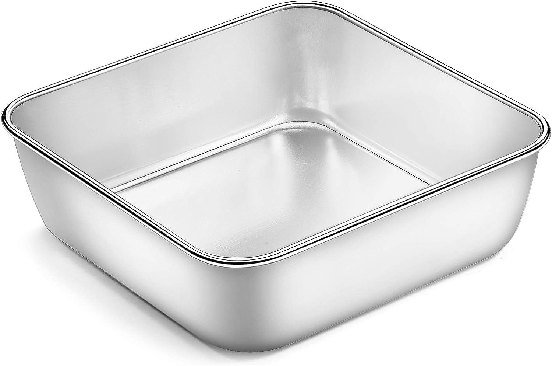 6 Inch Square Baking Pan, Deedro Square Cake Pan Stainless Steel Lasagna Brownie Pan, Toaster Oven Pan Deep Baking Pan, One-piece Molding & Leak proof, Healthy & Durable, Dishwasher Safe