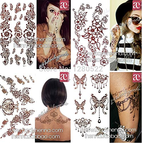 Henna Stencils 3pcs Mixed Henna Designs Temporary Tattoo Sticker Waterproof Body Painting arm Leg Neck Sexy Women Party Body Art by Henna Stencils