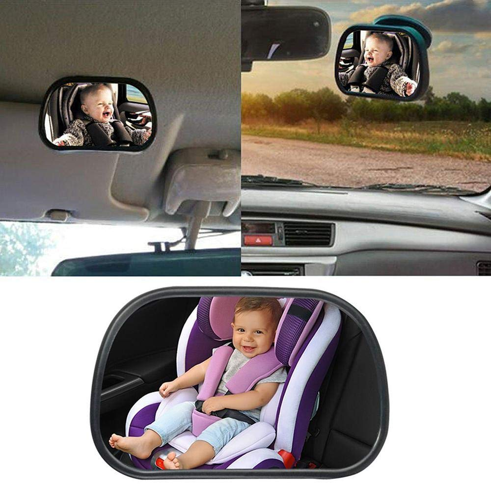 Geggur Baby Car Mirror for Back Seat,Car Seat Mirror 360/°Adjustable Baby Car Mirror for Back Seat Rear View Mirror with Sucker and Clip