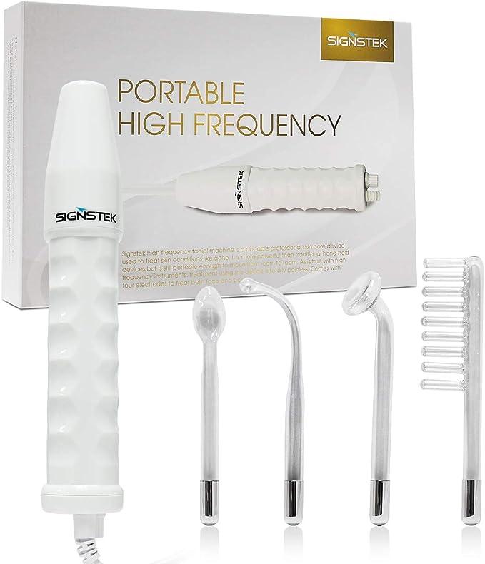 Signstek Dispositivo de belleza corporal de alta frecuencia con 4 electrodos para el cuidado de la cara y la piel (naranja claro)