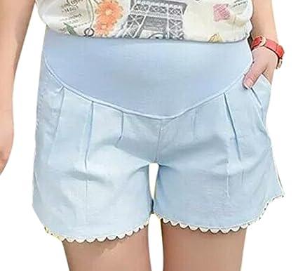 d55dd884e1ada Huateng Pregnant Women Summer New Casual Lace Shorts Thin Loose Linen Shorts