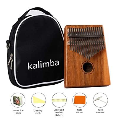 JIAN YA Kalimba 17 Keys Thumb Piano Solid Finger Piano with Backpack and Kalimba Basic Course Great for Finger Piano Beginners and Advanced (Acacia Mangium): Toys & Games