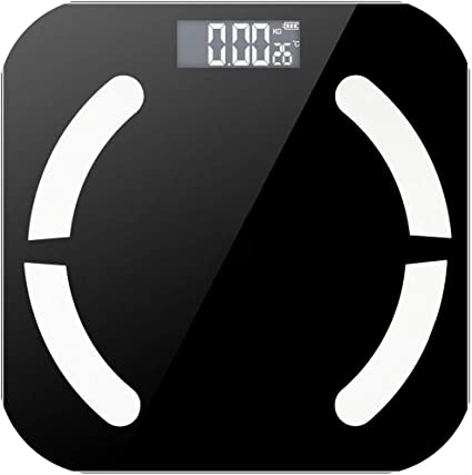 Roffie Body Fat Scale Digital Smart Weight Body Scale Composition Analyzer Wireless Bathroom High-Precision BMI Scale Health Monitor 2 Cm Thick Sync with Smartphone App 400 Lbs Black