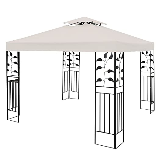 Costway 3x3m Garden Gazebo Top Cover Roof Replacement Tent Canopy Fabric 1 Tier 2