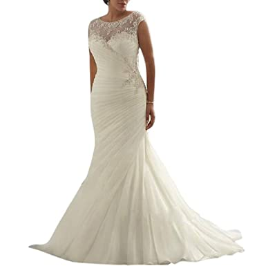 Beauty Bridal Ivory/White Mermaid Plus Size Sleeveless Wedding ...