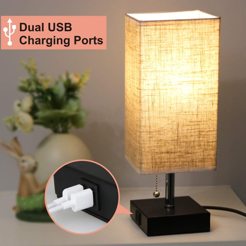 Focondot USB Table Lamp, Dual 2.1A USB Charging Port with Black Base and Fabric Shade, Nightstand Bedside Lamps Ideal for Bedroom, Living Room, Office by focondot (Image #1)