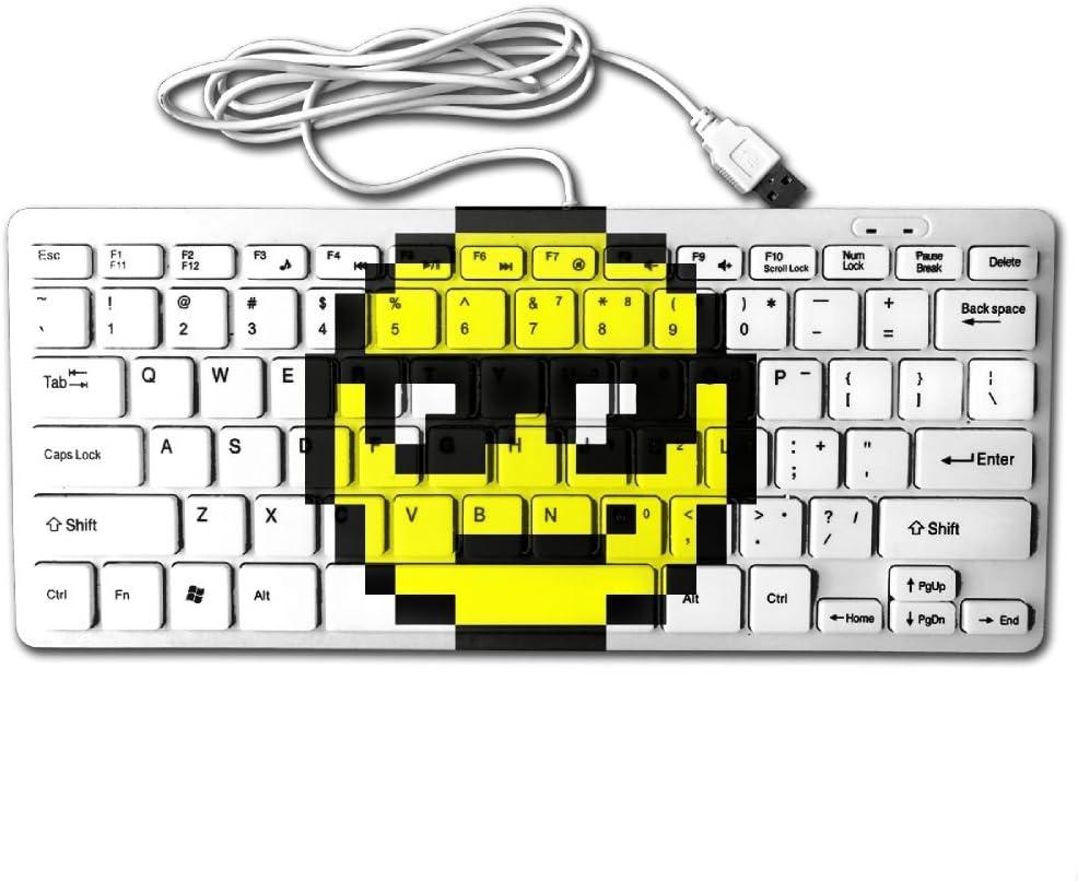 Pixel Art Smiley Face Mini Keyboard Wired Thin Light 78 Keys