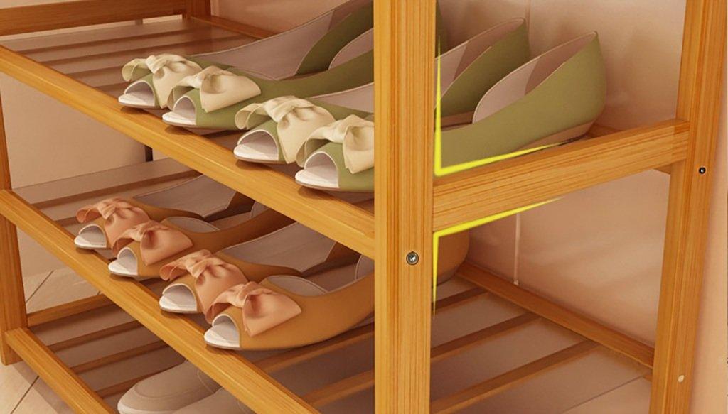 NE-xj 6-Tier Natural de Madera de bambú Simple Zapatero Zapatero Zapatero portaetiquetas Organizador de Almacenamiento para el Pasillo Sala de Estar del Cuarto de baño hasta 24 Pares de Zapatos (Multi-Size) 0327f4