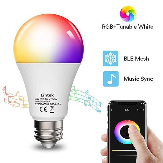 Bombillas Inteligentes E27 Ilintek Lámpara Bluetooth Rgb Luces Cálidasfríascero Demora16 Millones De Colorestemporizadorsync Con Músicano