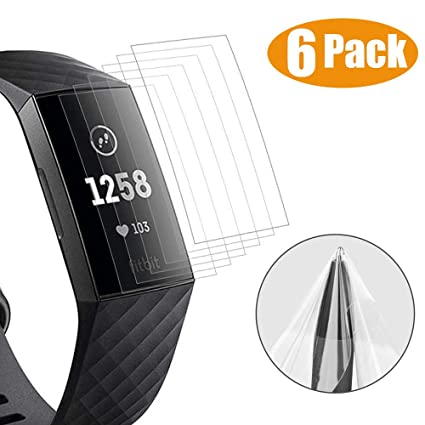 Miimall [6 Pack] Compatible with Fitbit Charge 3 Screen Protector,  [NO-Peeling Off] HD Clarity Scratch-proof Anti-Fingerprint TPU Protective  Film for