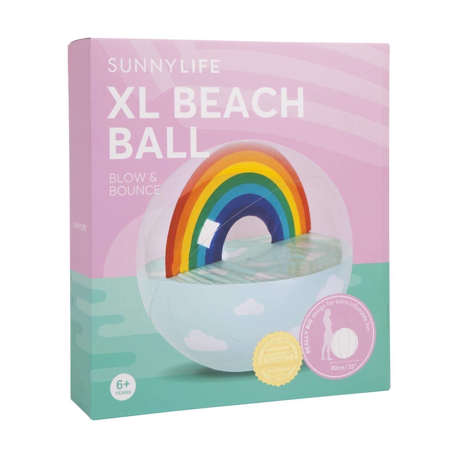 SunnyLIFE Classic Large Inflatable Round Beach Ball Summer Pool Toy - Rainbow Multi