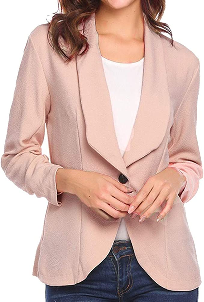 Womens 3//4 Sleeve Waterfall Cardigan Lady Blazer Suit Jacket Slim Coat Blouse UK