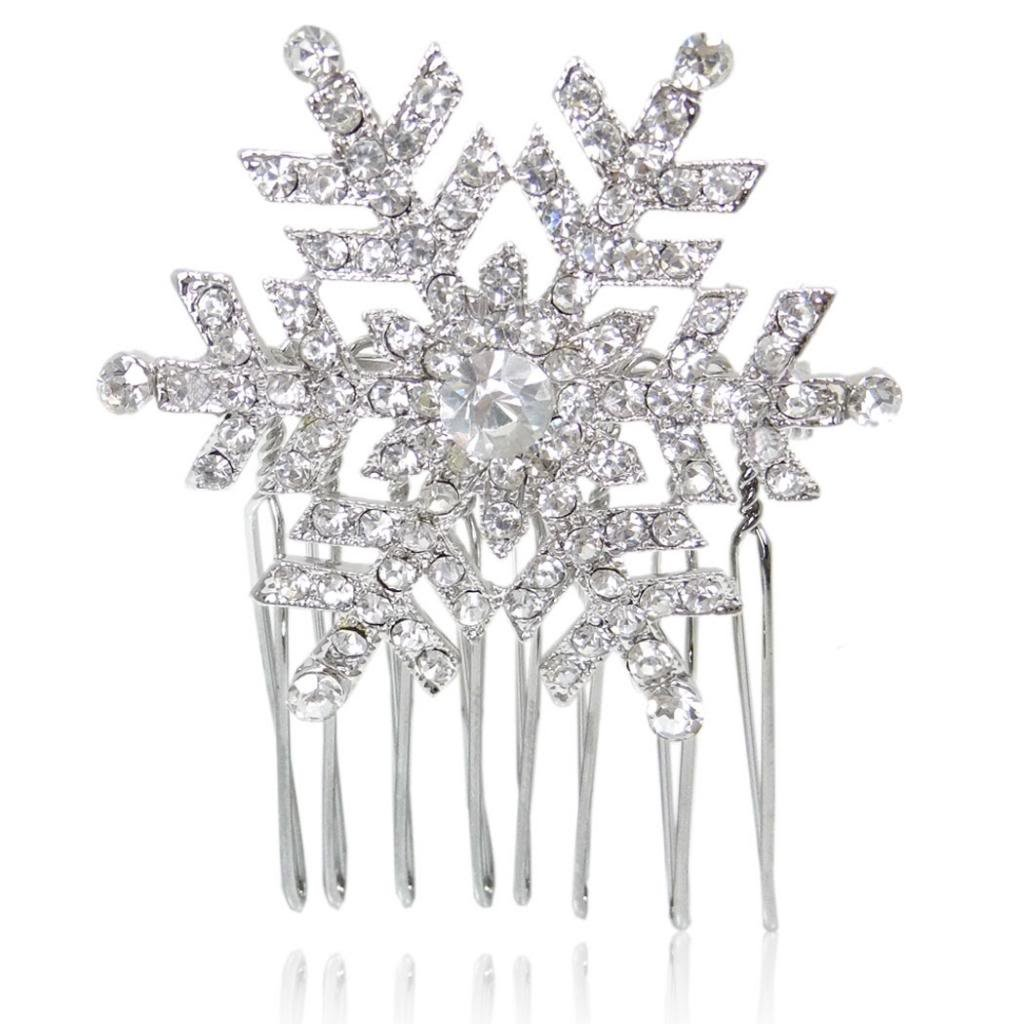 EVER FAITH® Neige- Peigne Flocon de Neige Cristal Autrichien Transparent B00030-1