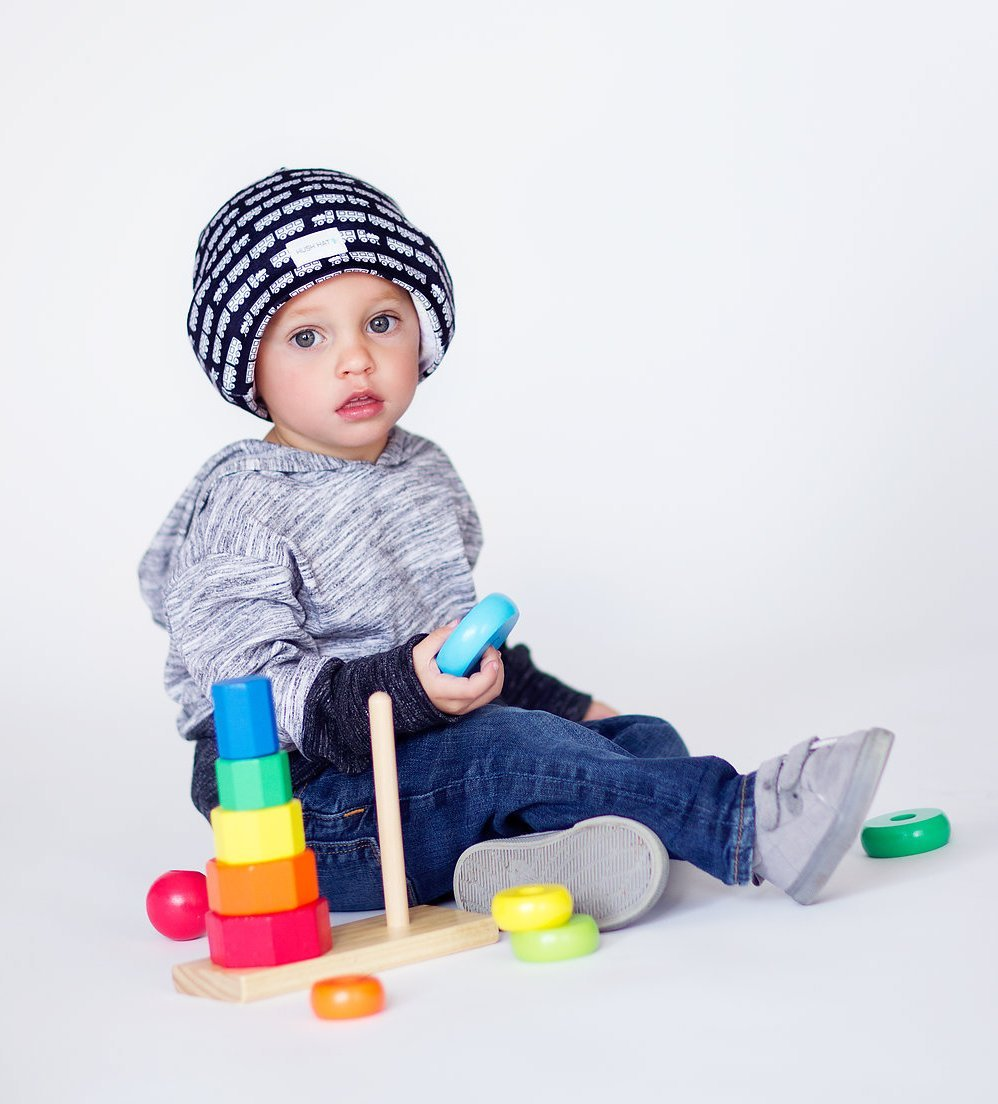Hush Baby Hat with Softsound Technology and Medical Grade Sound Absorbing Foam Black Trains Large