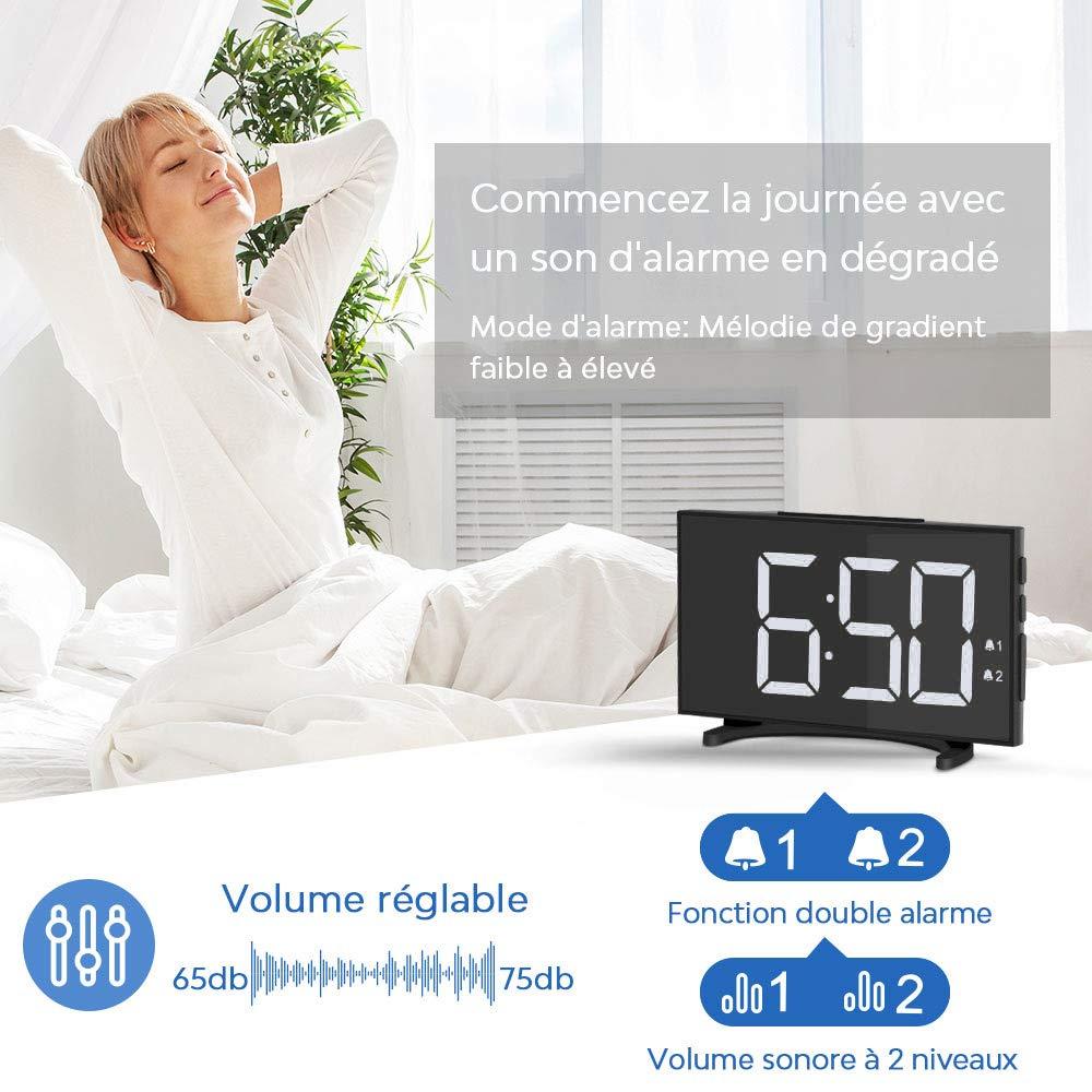 YISSVIC R/éveil Num/érique R/éveil Digital 6,5 inches Mince LED Blanc 6 Niveaux Luminosit/é R/églable Formats 12//24 Heures Convient /à la Maison et au Bureaux Inclus Adaptateur