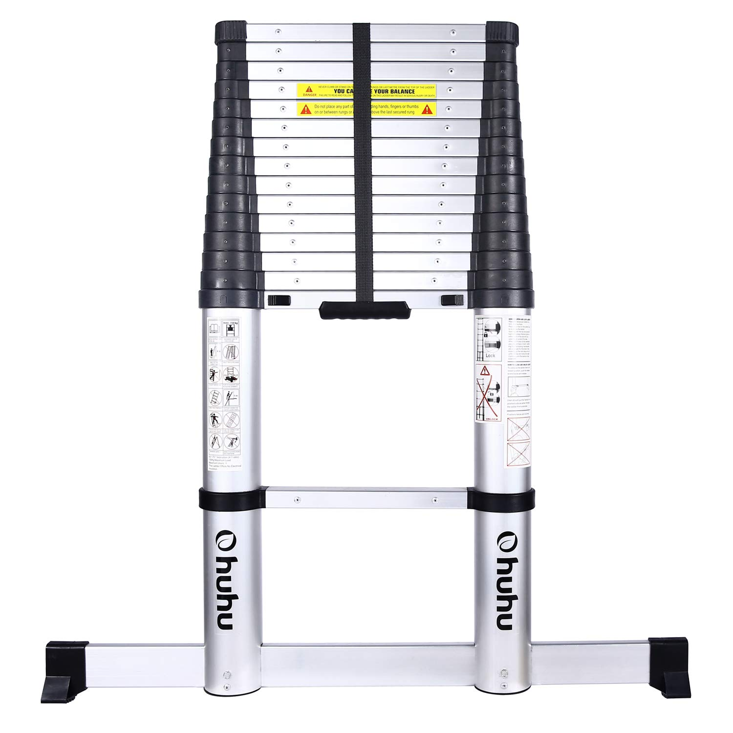 Ohuhu 15.5 FT Telescoping Ladder with Stabilizer Bar, EN131 Certified Convenient ONE-Button RETRACTION Aluminum Telescopic Extension Ladder, Non-Slip Extendable Ladder, 330 Pound Capacity