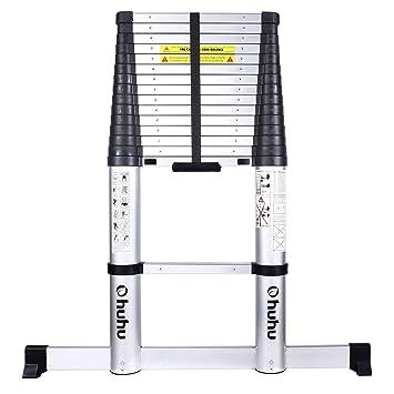 Ohuhu Escalera telescópica de 15.5 pies con barra estabilizadora, EN131 certificada con un botón de retracción de aluminio escalera telescópica extensible, antideslizante escalera extensible, capacidad de 330 libras: Amazon.es: Bricolaje y herramientas
