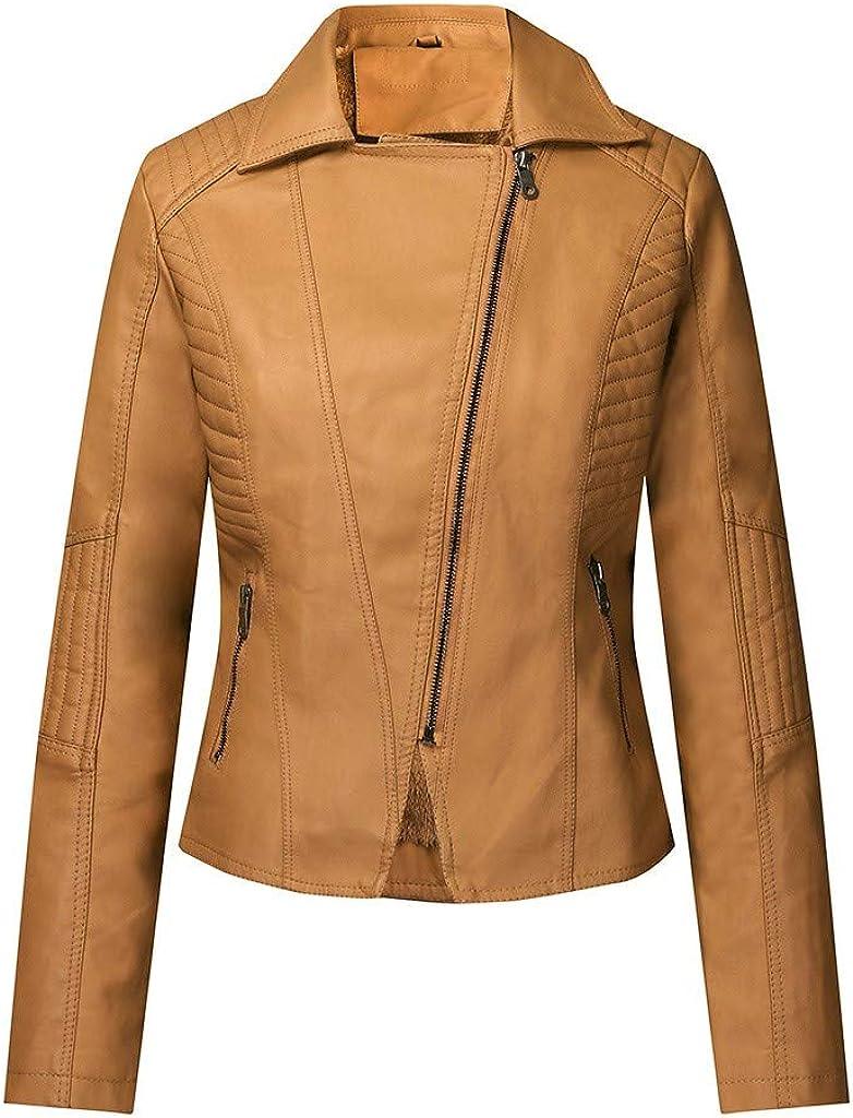 jieGorge Liquidación Abrigo Corto de Moda para Mujer Chaqueta de Cuero de imitación Cremallera Abrigo Outwears de Bolsillo Tops de Mujer❀