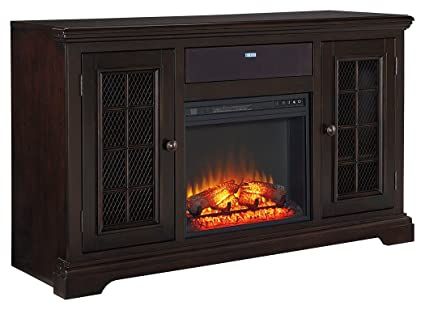 amazon com signature design by ashley w643 22 tv stand with rh amazon com dark brown fireplace tools dark brown fireplace mantel