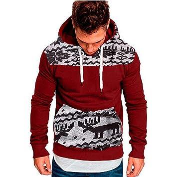 Logobeing Sudaderas de Hombre Navidad Otoño Invierno Abrigos Ropa Sudaderas Hombre Deporte Casual Outerwear Manga Larga Camisetas Chaqueta Suéter Chaqueta ...