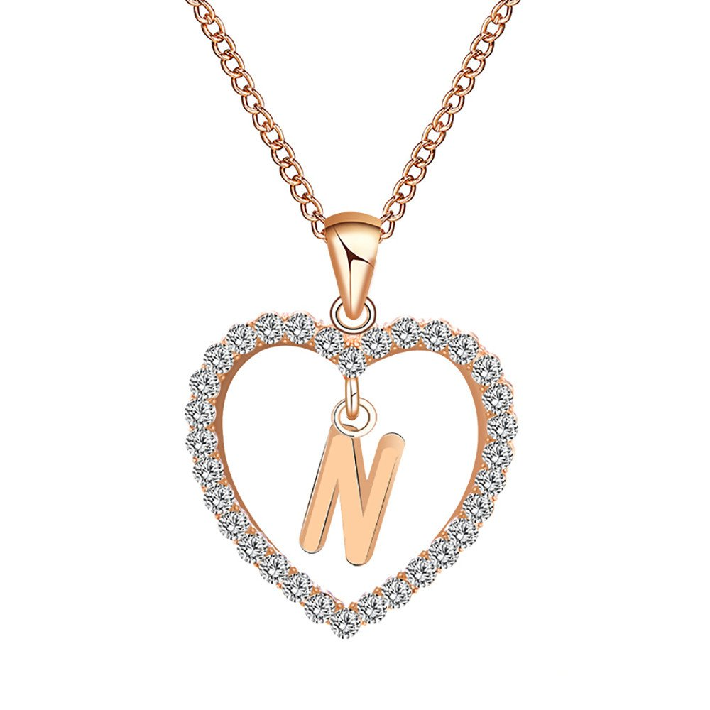 Voberry- 26 Alphabet English Letters Crystal First Initial NAM Necklace Love Heart Pendant Necklace Choker for Women Girlfriend Best Friends, Birthday Anniversary for Her (N)