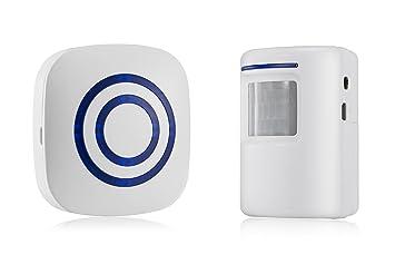 Blanco Inalámbrico Alarma de Calzada de Seguridad Casera con 1 Receptor Enchufable y 1 Sistema de