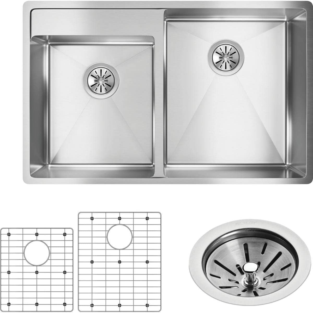 Elkay Crosstown ECTRUD31199LDBG0 Offset Double Bowl Undermount Stainless Steel Sink Kit with Water Deck